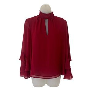 1. State Mock Neck Keyhole Long Sleeve Blouse Red